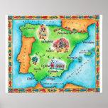 Mapa da espanha posteres