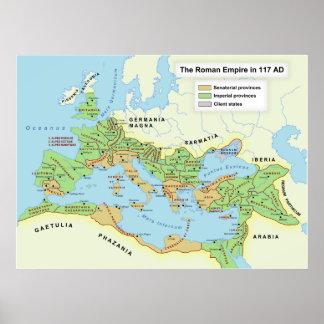 Mapa da extensão máxima do império romano impressão