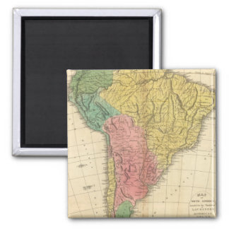 Mapa da história de Ámérica do Sul Ímã Quadrado