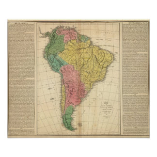 Mapa da história de Ámérica do Sul Pôster