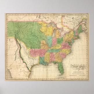 Mapa da história dos Estados Unidos da América Pôster