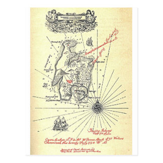 Mapa da ilha do tesouro de Robert Louis Stevenson Cartão Postal