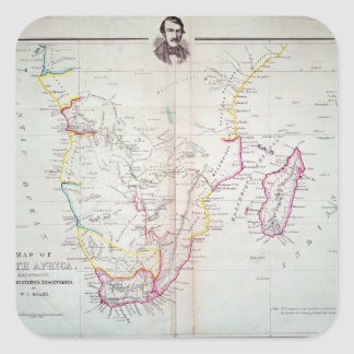 Mapa da ilustração de África do Sul Adesivos Quadrados