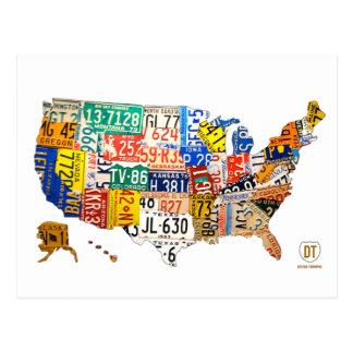 Mapa da matrícula do cartão dos EUA