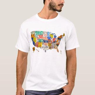 Mapa da matrícula do t-shirt dos EUA Camiseta