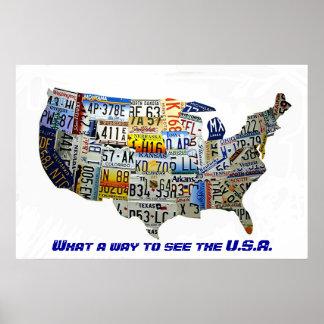 Mapa da matrícula dos Estados Unidos Posters