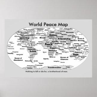 Mapa da paz de mundo - nada morrer para pôster