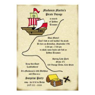 Mapa da viagem do aniversário do pirata