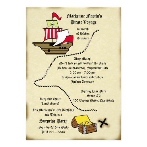 Mapa da viagem do aniversário do pirata convites personalizado