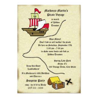 Mapa da viagem do aniversário do pirata convite 12.7 x 17.78cm
