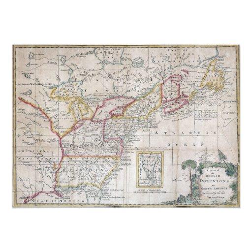 Mapa das autoridades britânicas em 1763 convites