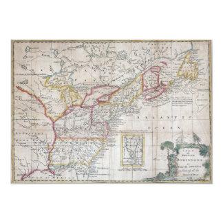 Mapa das autoridades britânicas em 1763 convite 12.7 x 17.78cm