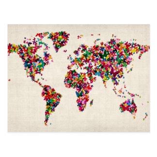 Mapa das borboletas do mapa do mundo cartão postal