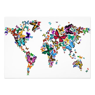 Mapa das borboletas do mundo convites personalizado