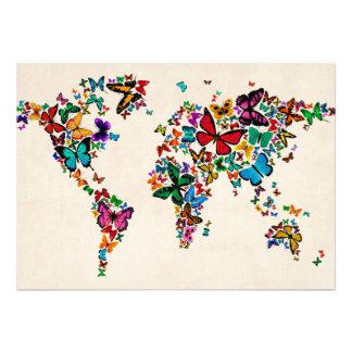Mapa das borboletas do mundo convite personalizados