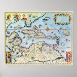 Mapa das ilhas das Caraíbas Poster