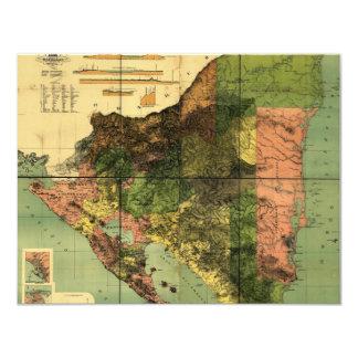 Mapa de 1898 oficiais de Nicarágua Convite 10.79 X 13.97cm