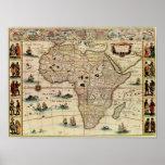 Mapa de África dos 1660's do vintage Poster