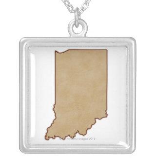 Mapa de alivio de Indiana 2 Colar Personalizado
