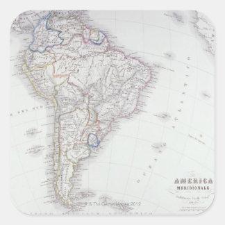Mapa de Ámérica do Sul Adesivo Quadrado