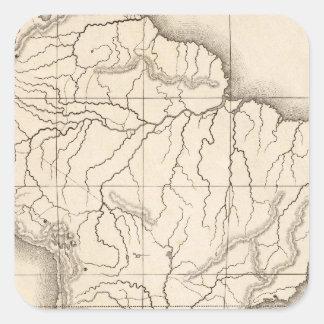 Mapa de Ámérica do Sul Adesivos Quadrados