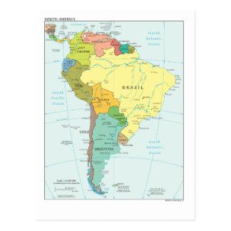 Mapa de Ámérica do Sul Cartão Postal