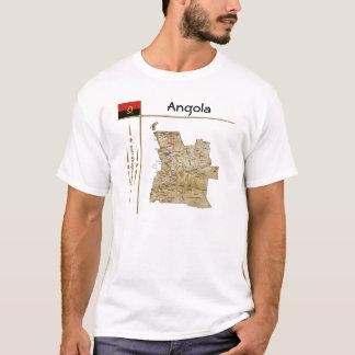Mapa de Angola + Bandeira + T-shirt do título Camiseta