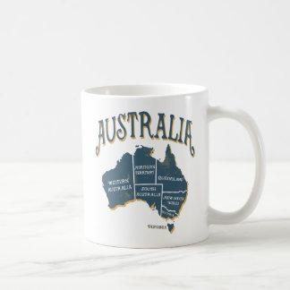 Mapa de Austrália do olhar do vintage Caneca De Café