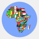 Mapa de bandeiras de África - presente africano da Adesivo Redondo