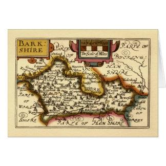 """Mapa de """"Barkshire"""" Berkshire County, Inglaterra Cartão Comemorativo"""