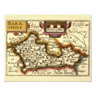 "Mapa de ""Barkshire"" Berkshire County, Inglaterra Convite 10.79 X 13.97cm"