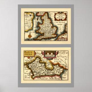 "Mapa de ""Barkshire"" Berkshire County, Inglaterra Pôster"