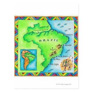 Mapa de Brasil Cartão Postal