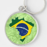Mapa de Brasil Chaveiro Redondo Na Cor Prata