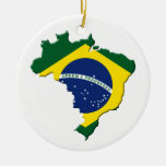 Mapa de Brasil Ornamento De Cerâmica Redondo
