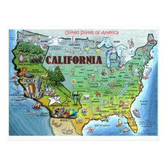 Mapa de Califórnia EUA Cartão Postal