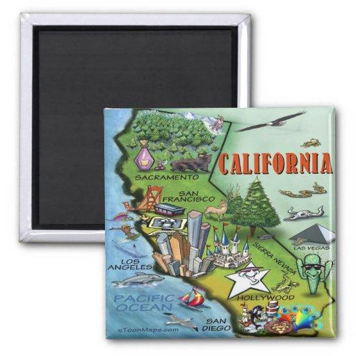 Mapa de Califórnia Imãs De Geladeira