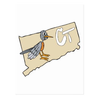 Mapa de Connecticut CT desenhos animados vermelh Cartoes Postais