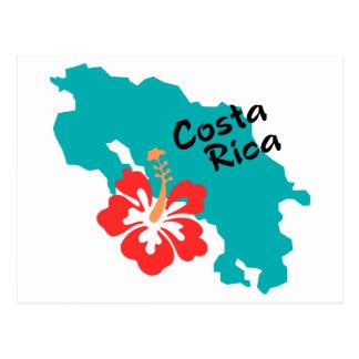 Mapa de Costa Rica com hibiscus Cartão Postal