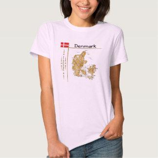 Mapa de Dinamarca + Bandeira + T-shirt do título