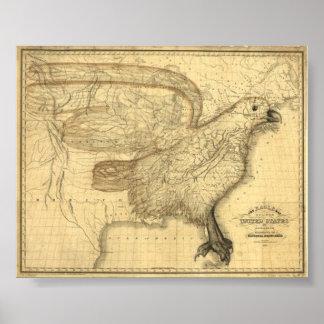 Mapa de Eagle dos Estados Unidos Pôster