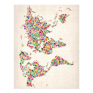 Mapa de estrelas do mapa do mundo panfletos personalizado