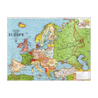Mapa de Europa Impressão De Canvas Esticadas