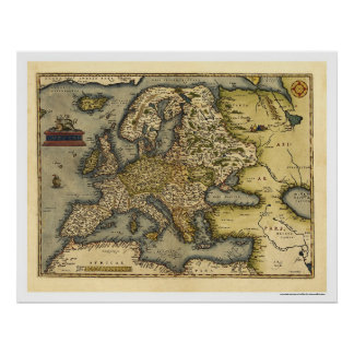Mapa de Europa por Ortelius 1570 Posters