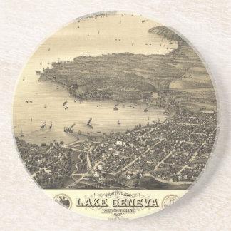 Mapa de Genebra do lago vintage Porta Copos De Arenito