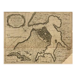 Mapa de Havana, Cuba (1762) Cartão Postal