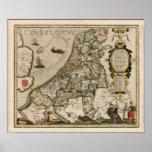 Mapa de Holland 1617 - Leo Belgicus Impressão
