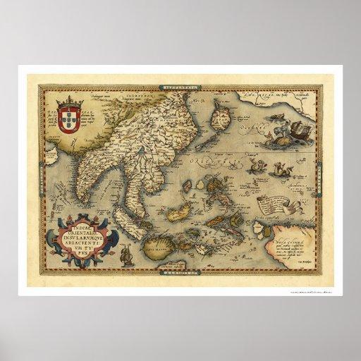 Mapa de India por Ortelius 1570 Pôsteres