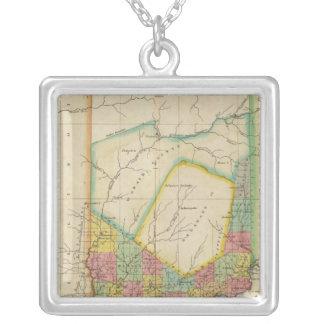 Mapa de Indiana Colar Banhado A Prata