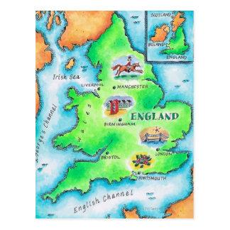 Mapa de Inglaterra Cartão Postal